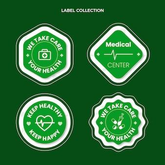 Collection d'étiquettes médicales design plat