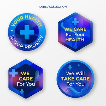 Collection d'étiquettes médicales réalistes