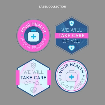 Collection d'étiquettes médicales de style plat