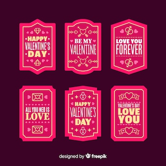 Collection d'étiquettes de message valentine
