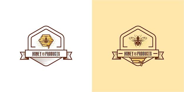 Collection d'étiquettes de miel au design plat