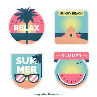 Collection d'étiquettes mignon d'été en design plat