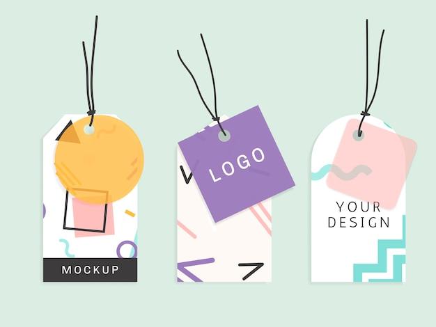 Collection d'étiquettes de modèle de memphis