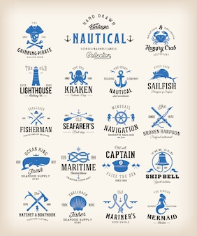 Collection d'étiquettes nautiques rétro