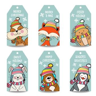 Collection d'étiquettes de noël avec des animaux