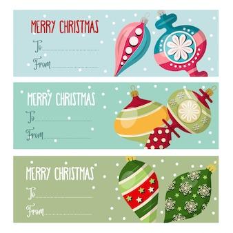 Collection d'étiquettes de noël avec des boules de noël pour des cadeaux.