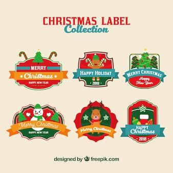 Collection d'étiquettes de noël dans des couleurs vives