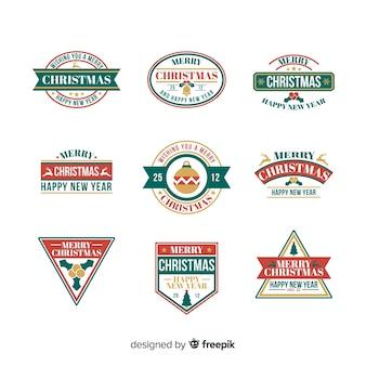 Collection d'étiquettes de noël design plat
