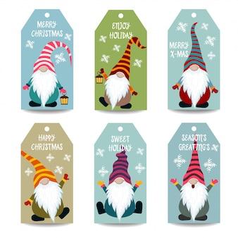 Collection d'étiquettes de noël avec des gnomes