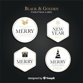 Collection d'étiquettes de noël modernes noires et dorées