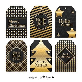 Collection d'étiquettes de noël noires et dorées