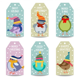 Collection d'étiquettes de noël avec des oiseaux