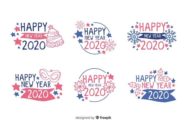 Collection d'étiquettes de nouvel an 2020 dessinées à la main