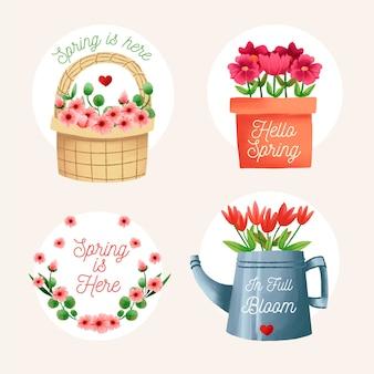 Collection d'étiquettes d'objets traditionnels aquarelle pour le printemps
