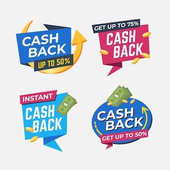 Collection d'étiquettes d'offre de cashback