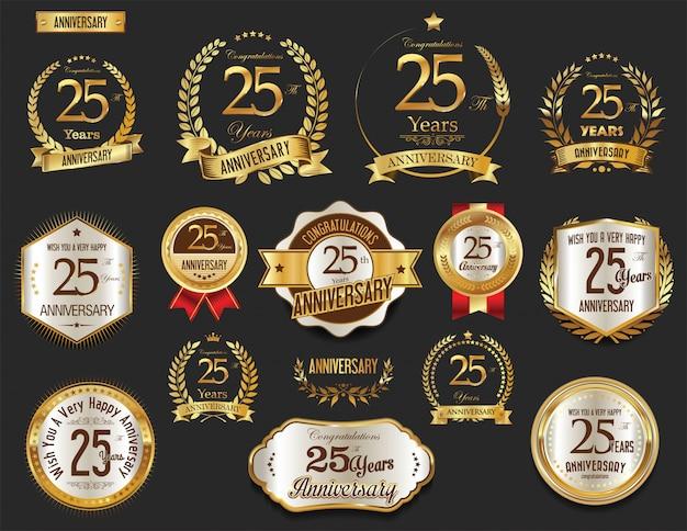 Collection d'étiquettes d'or anniversaire