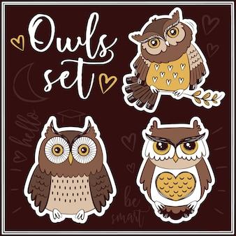 Collection d'étiquettes owls