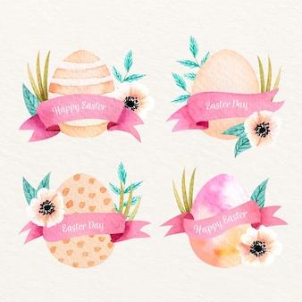 Collection d'étiquettes de pâques aquarelle