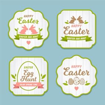 Collection d'étiquettes de pâques design plat