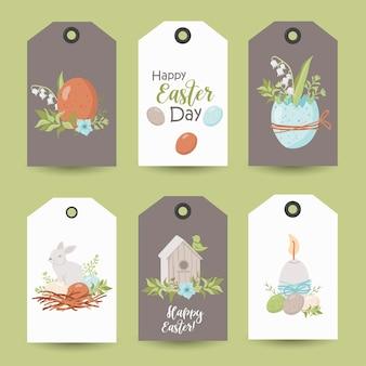 Collection d'étiquettes de pâques. modèles de cartes imprimables.