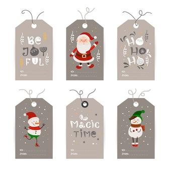 Collection d'étiquettes avec père noël, bonhommes de neige et souhaits de vacances