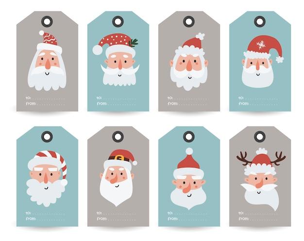 Collection d'étiquettes avec le père noël, les gnomes et les souhaits de vacances. modèles de cartes imprimables.