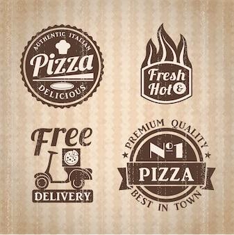Collection d'étiquettes de pizza.