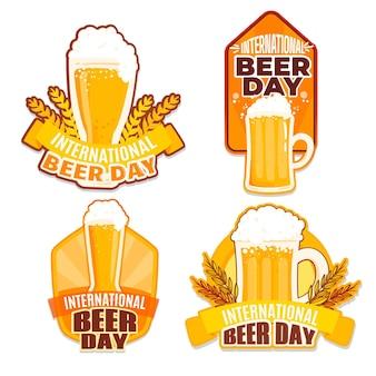 Collection d'étiquettes plates de jour de bière
