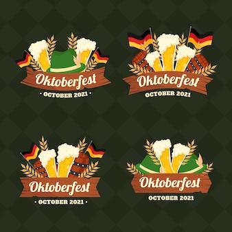 Collection d'étiquettes plates oktoberfest