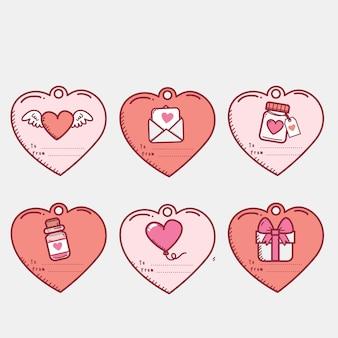 Collection d'étiquettes plates de la saint-valentin avec illustration mignonne