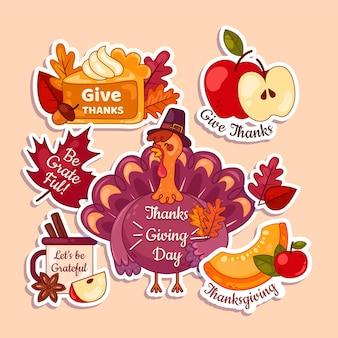 Collection d'étiquettes plates de thanksgiving
