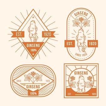 Collection d'étiquettes de pot de ginseng