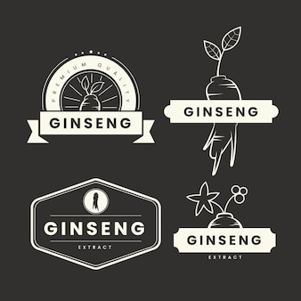Collection d'étiquettes de pot de ginseng