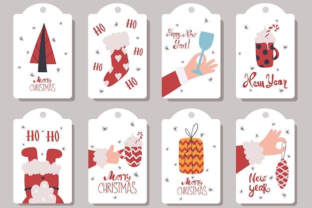 Collection d'étiquettes pour les cadeaux du nouvel an