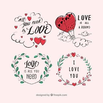 Collection d'étiquettes pour la saint-valentin