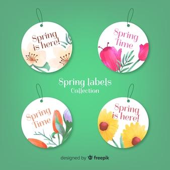 Collection d'étiquettes de printemps aquarelle