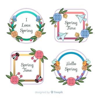 Collection d'étiquettes de printemps avec cadre animal