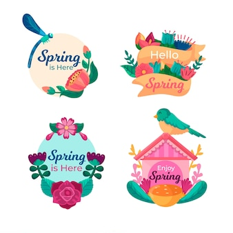 Collection d'étiquettes de printemps design plat