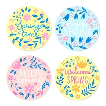 Collection d'étiquettes de printemps dessinées à la main
