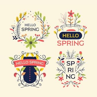Collection d'étiquettes de printemps dessinés à la main