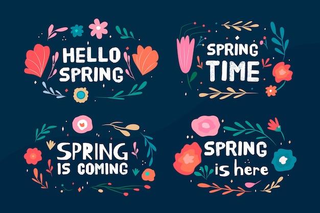 Collection d'étiquettes de printemps avec des fleurs en fleurs