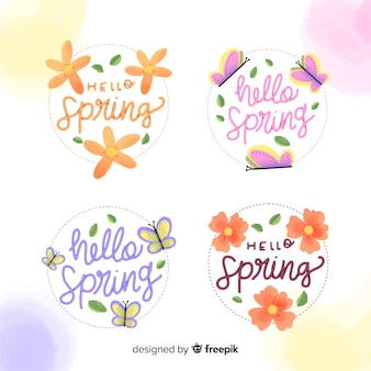 Collection étiquettes de printemps fleurs et papillons