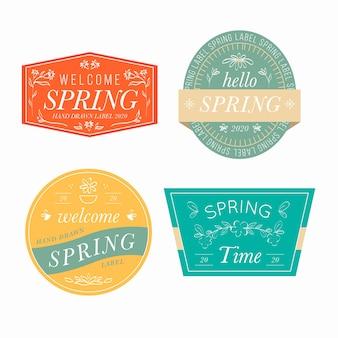 Collection d'étiquettes de printemps formes géométriques florales