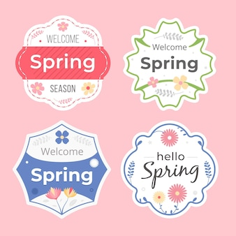 Collection d'étiquettes de printemps plat