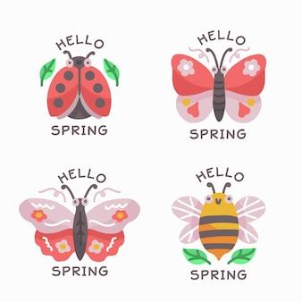 Collection d'étiquettes de printemps saisonnier dessinés à la main