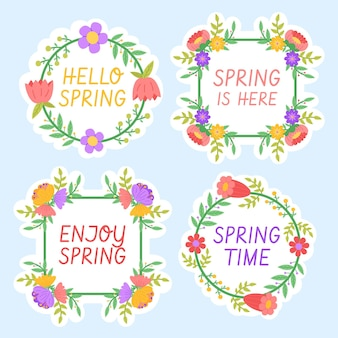 Collection d'étiquettes de printemps