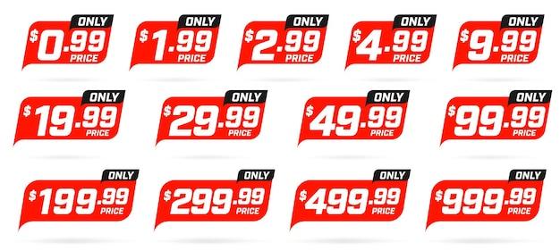 Collection d'étiquettes de prix discount isolated on white