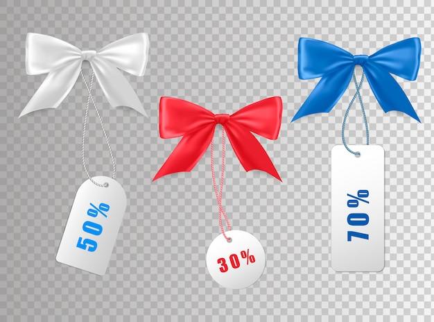 Collection d'étiquettes de prix de vente avec des arcs.