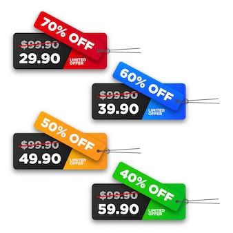 Collection d'étiquettes de prix de vente colorées