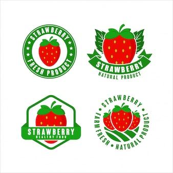 Collection d'étiquettes de produits naturels frais de la ferme aux fraises